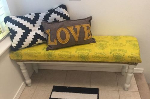 Yellow bench Tulip Slick fabric paint entryway