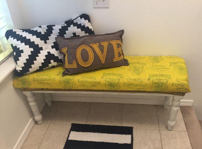Yellow bench Tulip Slick fabric paint entryway