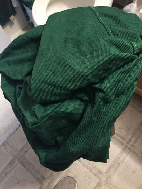 This is the color of the chair cover after drying for a bit. Ikea Henriksdal Green.